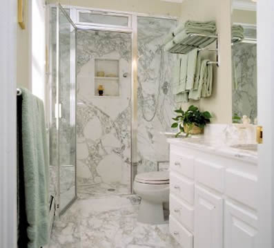 luxury stone kitchen full shower walls with matching tile floor